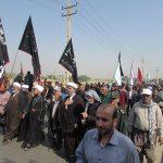 گزارش تصویری/آغاز پیاده روی و بدرقه چند هزار نفری کاروان اربعین (مشایه)