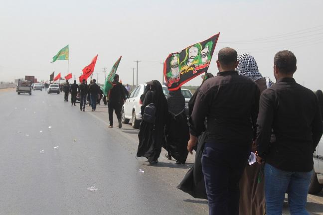 گزارش تصویری/بدرقه مردم شهرستان کارون از کاروان پیاده روی اربعین حسینی