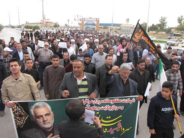 راهپیمایی مردم شهرستان کارون در اعلام انزجار از عاملان شهادت سردار سلیمانی