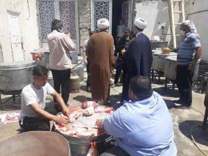 حضور امام جمعه کارون در محل پخت و اطعام مسجد امام حسین (ع) اسلام اباد
